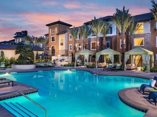 Detail thumb main pool at dusk at andorra apartments in camarillo ca
